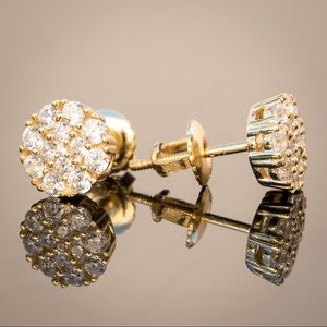 Other - Gold CZ Cluster Stud Screw Back Earrings